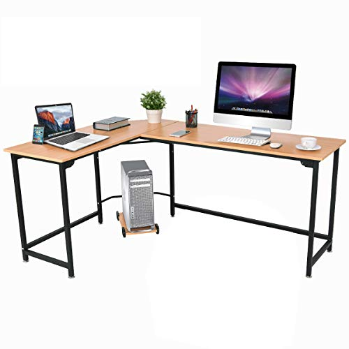 Tangkula Computer Desk L-Shaped Corner Writing Table Smooth Top Home Office Workstation Modern Study Laptop Desk with CPU Stand ()