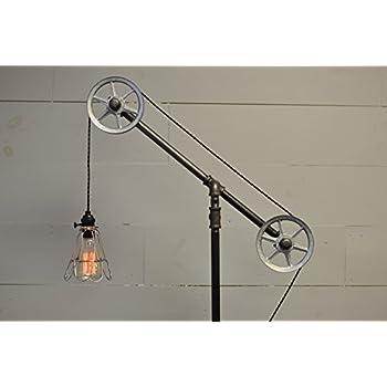 Industrial Floor Lamp Steel Wheels Amazon Com