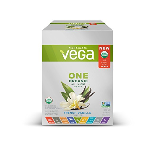 Vega One Organic All-in-One Shake French Vanilla (10 servings, 10x1.4 oz Packets) - Plant Based Vegan Protein Powder, Non Dairy, Gluten Free, Non GMO