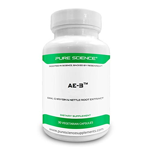 Pure Science AE-3 Chrysin with DIM & Stinging Nettle Root Extract and BioPerine - Natural Aromatase Inhibitor & Estrogen Blocker for Men - 30 Capsules