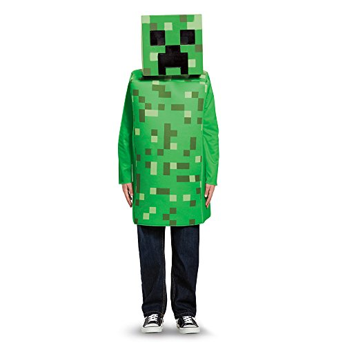 Creeper Costume For Halloween (Creeper Classic Minecraft Costume, Green, Large)