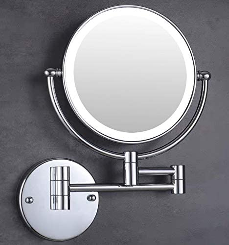 Moon Moon 7-Inch LED Lighted Wall Mount Makeup Mirror with 5x Magnification Double-Sided Lighted Makeup Mirror