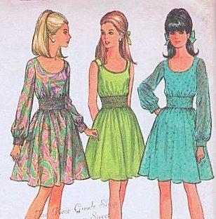 Shirred Dress Pattern (McCalls 9224 Shirred Midriff Vintage 1960s Dress Pattern Womans Size 14)