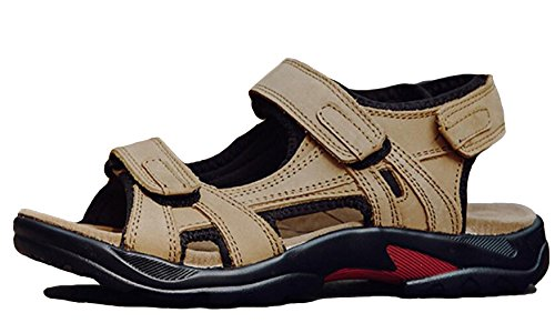 GFONE Khaki Sport Leder Größe Sandalen Herren Wasserdichte Offene 5 Outdoor 5 Spitze Klettverschluss Wandern 12 rRZrqY6w