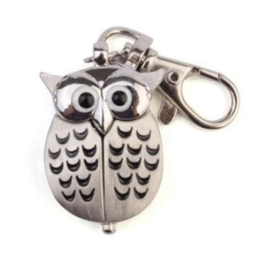 Stainless Steel Alloy Quartz Pocket Watch Pendant with Keychain (Owl)