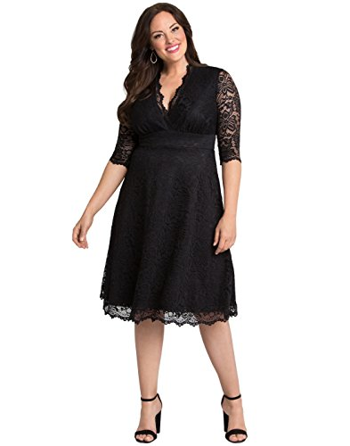 Kiyonna Women's Plus Size Special Occasion Mademoiselle Lace Cocktail Dress - 1X - Onyx Black