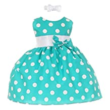 Stylesilove Polka Dot Baby Girl Dress with Headband, Made in USA (3M, Teal)
