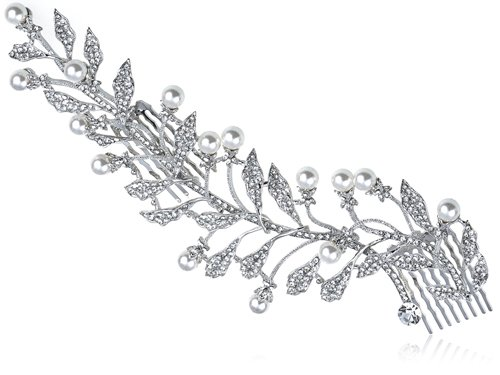 Czech Costumes Jewellery (Alilang Czech Crystal Rhinestone Faux Pearl Accented Leaf Branch Head Hair Comb)
