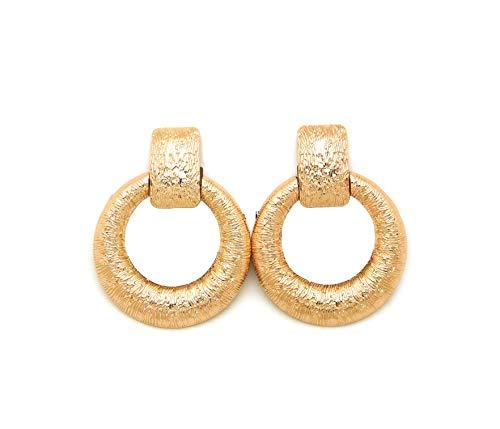 (Women's Oversized Door Knocker Hoop Style Statement Metal Clip On Earring (Gold - Door Knocker Style 1) )