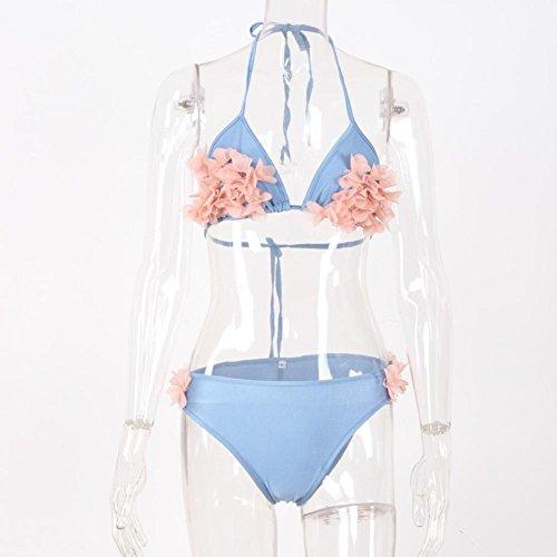 Rawdah 1 juego de las mujeres flor de la playa Bikini de traje de baño Azul