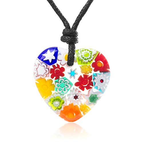 Chuvora Millefiori Murano Glass Multi-Colored Heart Shaped Pendant 25 mm Adjustable Necklace 15