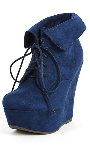 Breckelle Carrie-12W Vegan Suede Almond Toe Lace Up Fold Over Cuff Wedge Boot NAVY BLUE (7.5) iCa7yb91