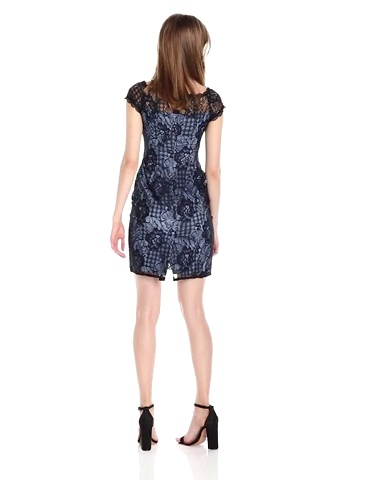 Adrianna Papell Womens Adele Lace Off Shoulder Sheath Dress