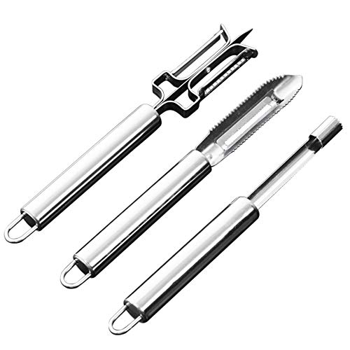 VANDHOME Peeler Set of 3, Multifuctional Stainless Steel Vegetable Fruit Peeler Set Include 2in1 Peeler,Peeler,Cherry Corer. by VANDHOME