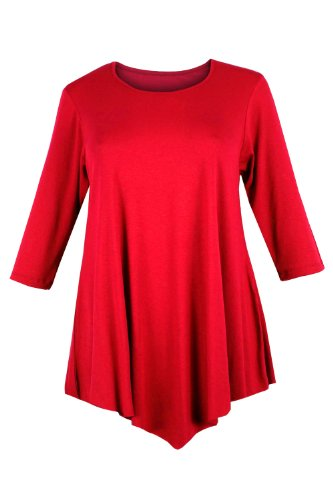 Curvylicious Women's Plus Size 3/4 Sleeve Round Neck Tunic Top – 14 Plus, Red