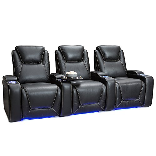 Back Chair Pressed (Seatcraft Equinox Home Theater Seating Power Recline Leather (Row of 3, Black))