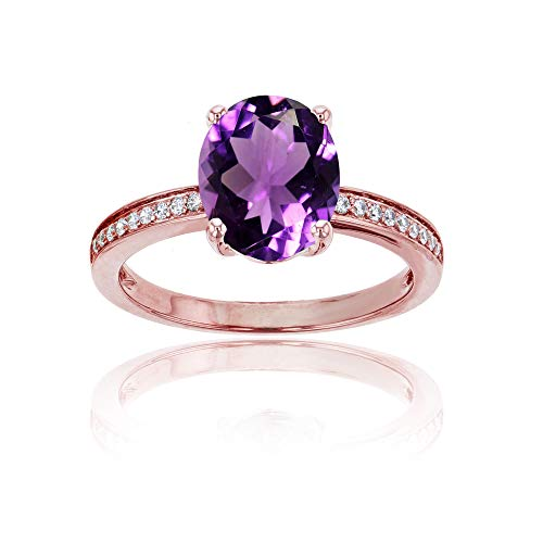 (10K Rose Gold 0.10 CTTW Round Diamond Channel Set & 10x8 Oval Amethyst Engagement Ring)