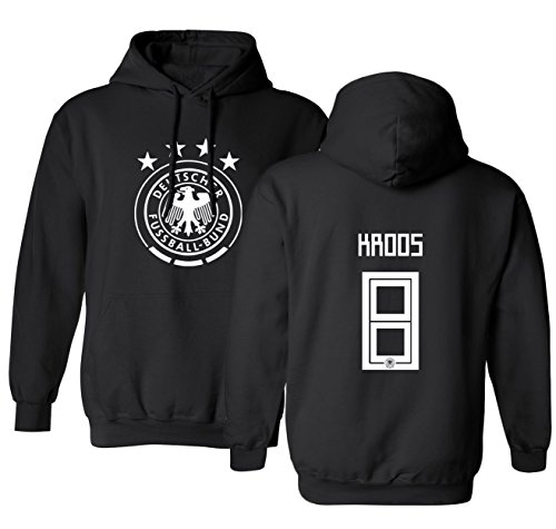 Tcamp Germany 2018 National Soccer #8 Toni KROOS World Championship Men's Hooded Sweatshirt (Black, Adult Small)