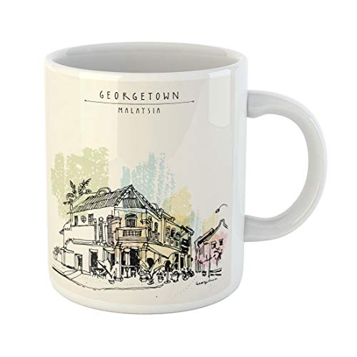 Tarolo 11 Oz Mug Coffee Mug Ceramic Tea Cup Cozy Eclectic Colonial Building Corner Restaurant in Old Historical Street Georgetown Penang Malaysia Southeast Asia Large C-handle Family and Office Gift