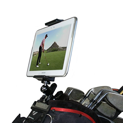 Golf Gadgets - Swing Recording System | Ball Head Clamp Mount for Tablet or Any Smartphone. Compatible with Most Tablets or ANY Phone. (Bag Clamp)