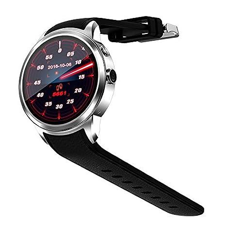 Lemumu Internet WIF impermeable de posicionamiento GPS 5.1 llamada 3G Quad Core 8G Relojes inteligentes con Wompatible para Android IOS, plata: Amazon.es: ...