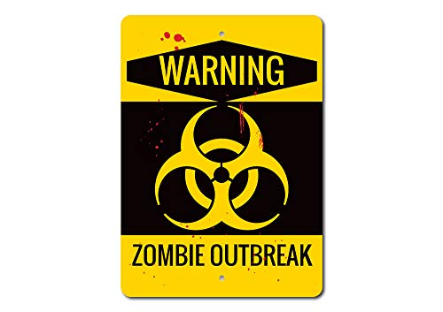Zombie Outbreak Sign, Warning Zombie Sign, Zombie Decor, Zombie Lover Sign, Zombie Warning Sign, Zombie Home Decor, Quality Metal - -