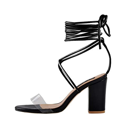 Onlymaker Women's Ankle Strap Lace up Clear Chunky High Heel Gladiator Open Toe Heeled Strappy Sandals Black Black 9 M US