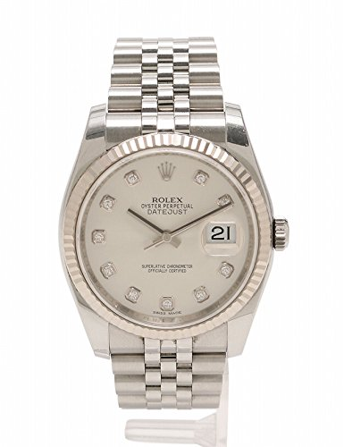 (ロレックス) ROLEX 腕時計 デイトジャスト 自動巻き メンズ 10Pダイヤ SS K18WG シルバー ホワイトゴールド 116234G 中古 B0796RBKGZ