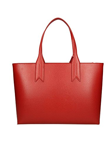 Shopping Leather Handbag Armani Emporio Logo Red Femme wzEAgPq7