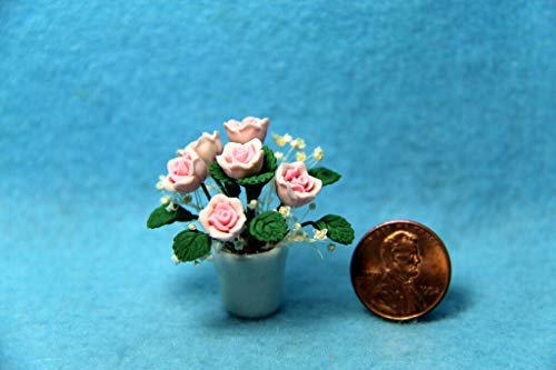 ShopForAllYou Figurines and Statues Dollhouse Miniature Beautiful Pink Rose Flowers in White Pot ~ F2071A