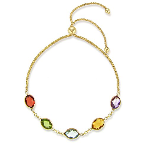 Bolo Bracelet 14k Yellow Gold with 4x6mm Oval Shape Multi-Color Simulated Gemstones Friendship Bracelet 9.25
