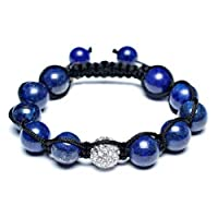 Bling Jewelry Simulated Lapis Lazuli Crystal Shamballa Inspired Bracelet