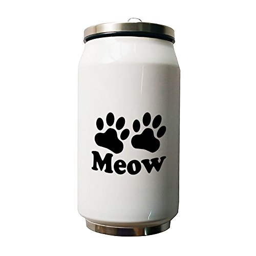 Kdnsgfds Meow Paw White Double Vacuum Insulated Stainless Steel Coke Cans Water Bottle,280ml - Personalized Gift For Birthday,Christmas And New (Cocacola Can Costume)