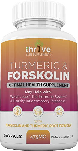 Thrive Slim Supplements Turmeric Capsules - 100% Organic 475mg Turmeric Forskolin Capsules, Antioxidant, Anti-inflammatory, Pain Relief, Joint Support - 60 Vegetarian Caps