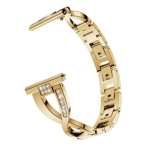 Compatible Samsung Galaxy Watch 46mm Band, 22mm Metal Band Watch Bracelet Replacement Band for Samsung Gear S3 Frontier / S3 Classic Band Sports Watch Strap Accessories (Gold)