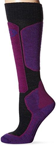 Icebreaker Merino Women's Ski Over The Calf Socks, New Zealand Merino Wool, Jet Heather/Emperor/Vivid, Medium