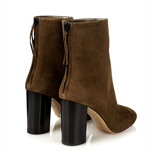 Stiefel Heels Wildleder Blockabsatz KJJDE Reißverschluss Party 38 Damen TLJ 071101 Fringed Pumps High Brown tRtA5qHw