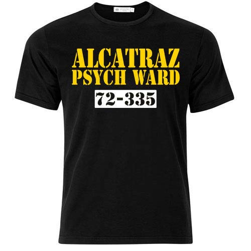 T-shirt uomo Alcatraz Psych Ward inspired, reparto psichiatrico Alcatraz