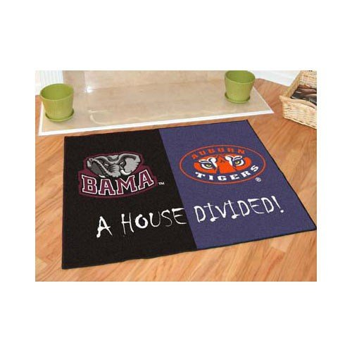 Fanmats House Divided Floor Mat w Official Team Logos - Crimson Tide & Auburn Tigers