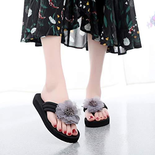 Bajos Gris Hogar Elegante Zapatos Chanclas Verano Moda Flores Bajo Techo El Mujeres Chancletas Sandalias Playa Y Riou Cómodo Para De Zapatillas Bohemia 41wvaqwn
