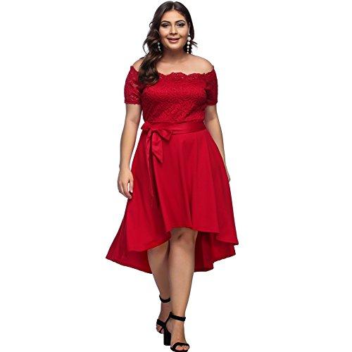 Lover-Beauty Mujer Vestido Corto Elegante Sexy Cuello V Raya Talla Grande Top Puro con Manga Dama de Honor para Playa Noche Fiesta y Boda Rojo 2