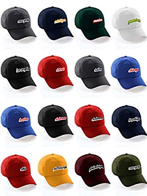 Classic Unstructured USA Cities Baseball Dad Hat 3D Raised PVC Letters Cap