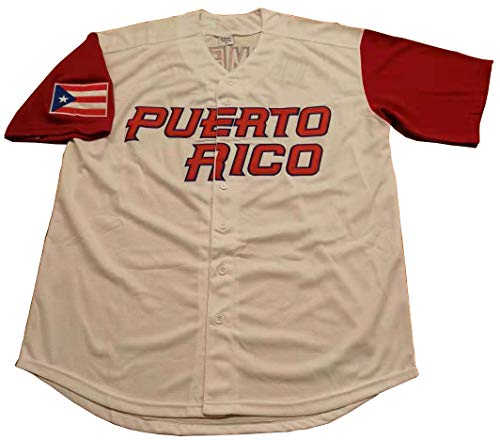 Roberto Clemente #21 Puerto Rico World Classic Baseball Jersey Men (White, Large)