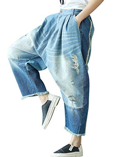 Jambe Trou Femmes Jeans 17 Youlee Taille Pantalon Style Harem lastique Large Ftwq0xp1