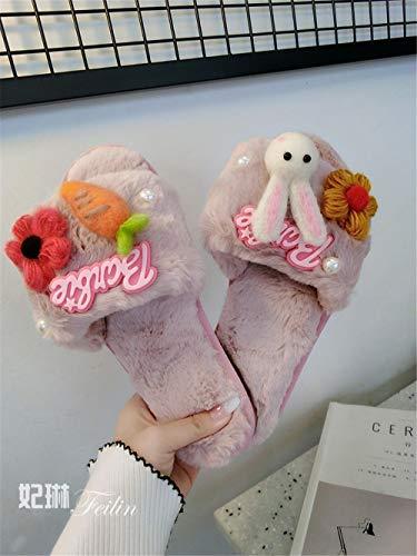 Zapatos Interior E Flip Lhxyx Zapatillas Mujer Antideslizantes 6 Otoño Casa Algodón Felpa De Invierno XwxzwFqUvA