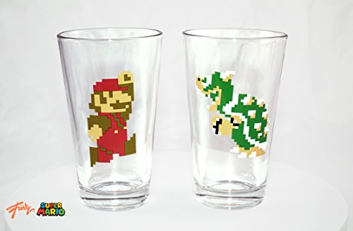 2-Pack GIFT SET 16oz OFFICIAL Super Mario Pint Glasses Mario & Luigi 8-Bit Pint Glass Novelty GIFT SET Pack of 2