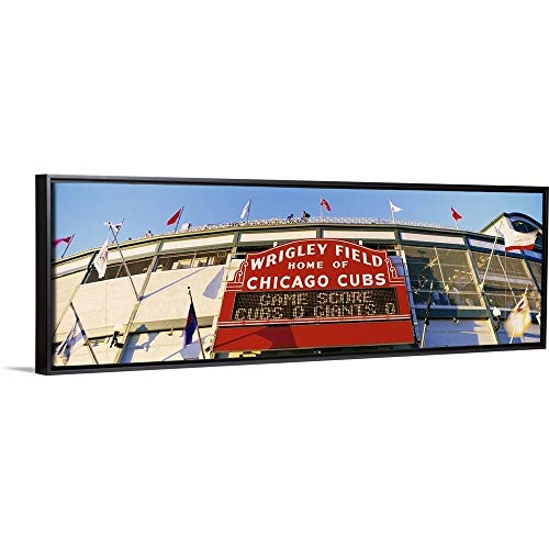 Floating Frame Premium Canvas with Black Frame Wall Art Print Entitled Wrigley Field Chicago IL 36