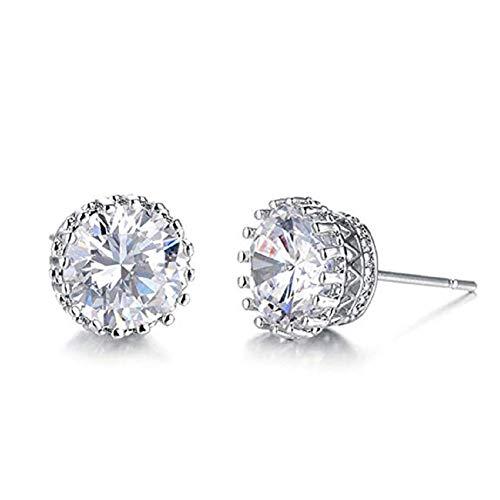 (9mm Round Cut CZ Cubic Zirconia Stud Earrings Gold Stud Wedding BridalEarrings for Women Crown Earring (Silver))