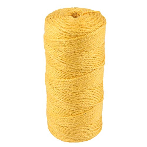(McFanBe 328 Feet Jute Rope Twine 2mm Colored String Cord for DIY Arts Crafts Gardening Bundling Gifts Decoration (Yellow-1pcs))
