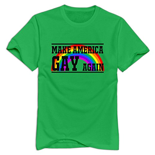 KST Men's Make America Gay Again 100% Cotton O Collar Geek Quotes T-Shirt ForestGreen Size S ()